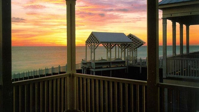 Beachfront homes and pavilions offer sweeping views of the spectacular Florida Gulf Coast sunsets.