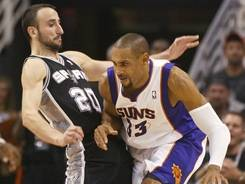 Spurs guard Manu Ginobili tries to draw an offensive foul on Suns forward Grant Hill during a 2010 game in Phoenix. Players have been embellishing charges by falling to the ground or flopping hoping to draw a foul.
