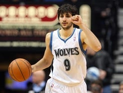 The Minnesota Timberwolves went 5-20 after guard Ricky Rubio, above, tore the anterior cruciate ligament in his left knee during a game against the Los Angeles Lakers on March 9.