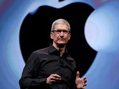 Apple CEO Tim Cook speaks following an introduction of the new iPhone 5 in San Francisco on Sept. 12.
