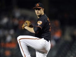 Orioles starter Chris Tillman pitched eight innings, giving up only one hit and an unearned run.
