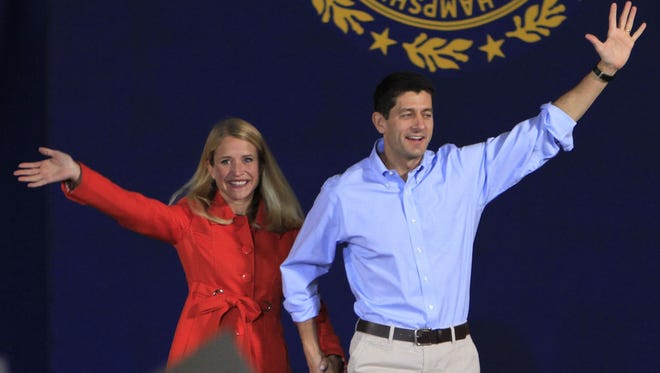 Republican Vice Presidential candidate Paul Ryan and his wife, Janna, arrive at a campaign event Saturday in Derry, N.H.