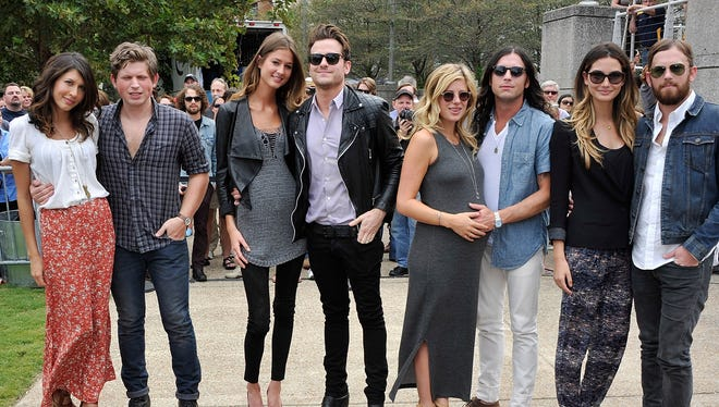 Jared Followill and wife Martha Patterson, second from left, attend the Music City Walk Of Fame Induction Ceremony Honoring Kings Of Leon on Sept. 21, in Nashville, Tennessee.