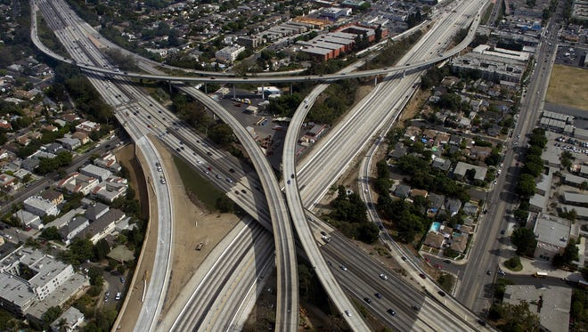 The empty 405 freeway looking southbound runs underneath the 10 freeway in Los Angeles during Carmageddon II.