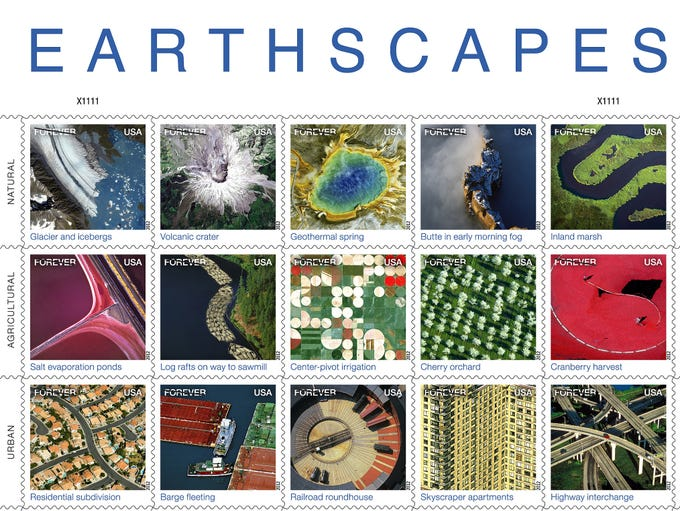 The new Earthscapes forever stamps feature a variety of images.