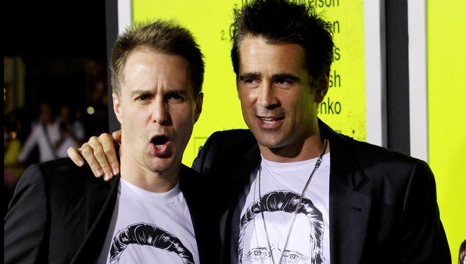 Sam Rockwell, left, and Colin Farrell sport matching Christopher Walken T-shirts at the 'Seven Psychopaths' premiere.