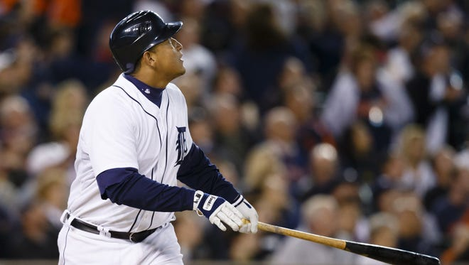 The Tigers' Miguel Cabrera, hitting a double Sept. 17, was leading the AL in average, home runs and RBI entering Tuesday's games.