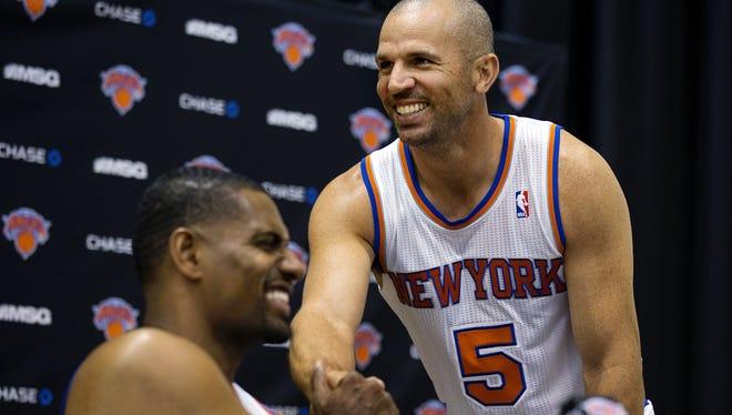 Knicks guard Jason Kidd, right, turns 40 on March 23. Forward Kurt Thomas, left, will celebrate his 40th birthday Thursday.