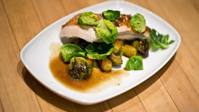 A roast chicken dish prepared by Brad Nelson, Marriott's corporate chef and vice president of culinary. The chain urges its chefs to include whole grains and organic ingredients in dishes.
