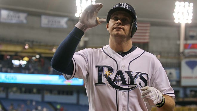 Rays third baseman Evan Longoria waves after one of his three homers Wednesday in a 4-1 win vs. the Orioles.