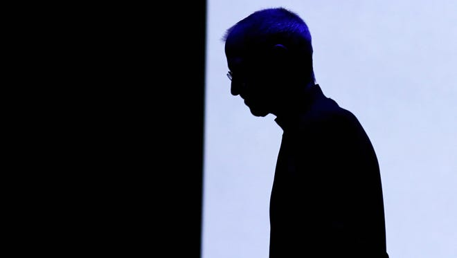 Steve Jobs at an Apple event that unveiled the iPad 2.