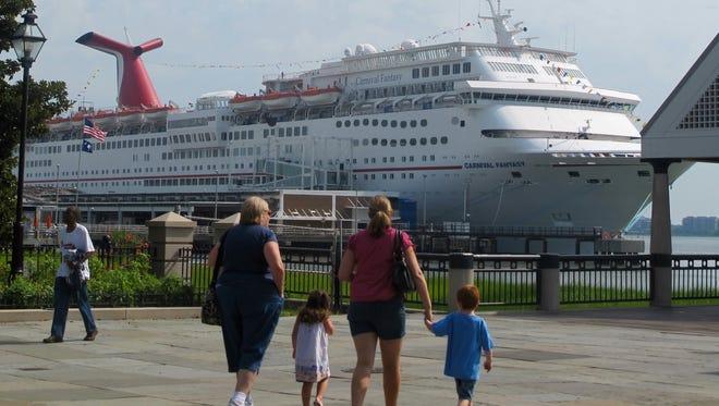 The Carnival Fantasy calls in Charleston, S.C., on July, 25, 2012.
