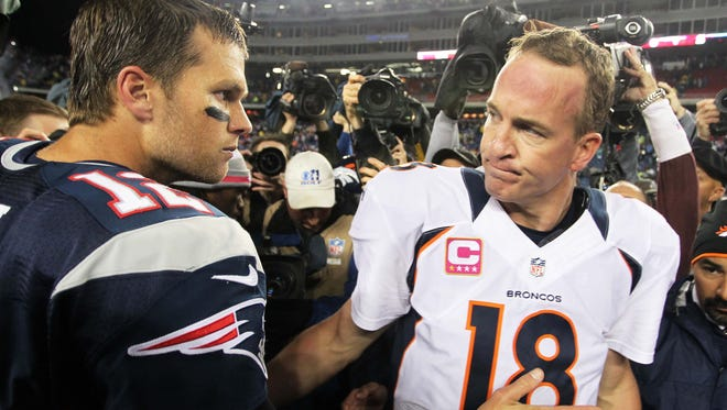 Tom Brady, left, improved to 9-4 in his career against Peyton Manning-led teams.