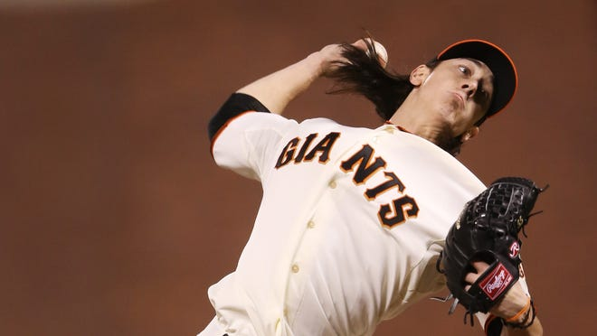 Giants' Tim Lincecum retired the three batters he faced in the sixth inning.