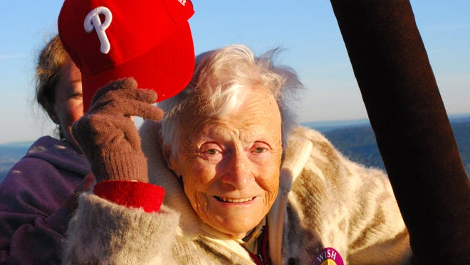"Centenarian Miriam Krause was able to ride in a hot air balloon through Wish of a Lifetime and Twilight Wish. She says, ""It was beyond all my expectations. I was on cloud nine!"""