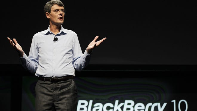 Thorsten Heins, president and CEO of Research in Motion, speaks about the new BlackBerry in San Jose, Calif., Sept. 25, 2012.