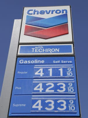 High gas prices shown at a Chevron gas station in San Francisco.