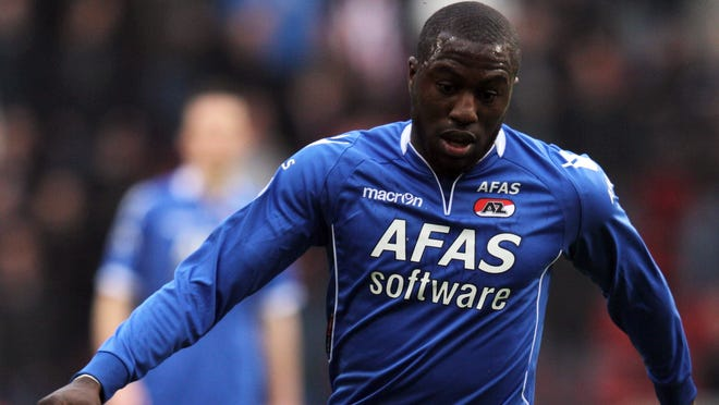 Jozy Altidore of AZ Alkmaar in action during the Eredivisie match between PSV Eindhoven and AZ Alkmaar at Philips Stadion on April 14 in Eindhoven, Netherlands. Altidore was left off the U.S. roster for two upcoming World Cup qualifiers.