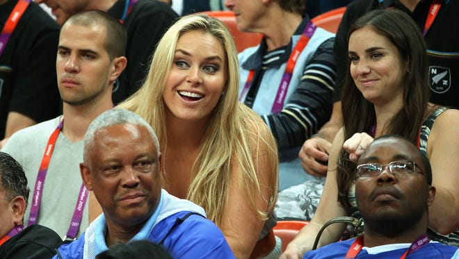 American Alpine ski racer Lindsey Vonn attends a men's basketball preliminary Round game between United States and Lithuania at the London Olympics on Aug. 4.