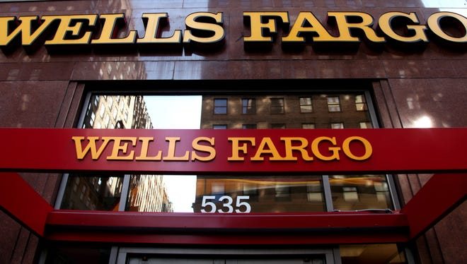 A Wells Fargo sign at a bank branch in New York.