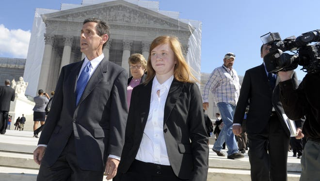 Abigail Fisher, involved in the University of Texas affirmative action case, at the Supreme Court on Wednesday.