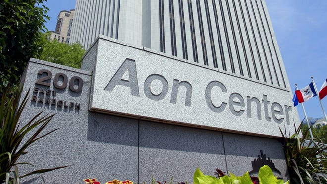 The headquarters building for Aon Corp. stands in Chicago, Illinois, U.S., in 2010. This year, the company relocated to the U.K.