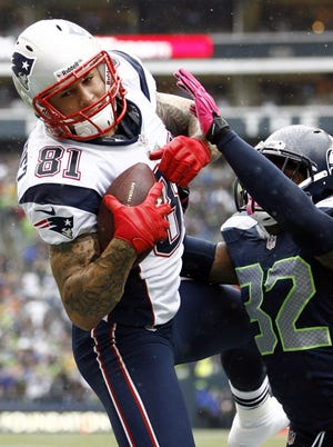 Patriots tight end Aaron Hernandez had missed four games before returning Sunday and hauling in a touchdown pass against the Seahawks.