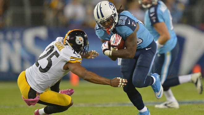 Titans running back Chris Johnson struggled early this season but looked like a top fantasy option against the Steelers on Oct. 11.