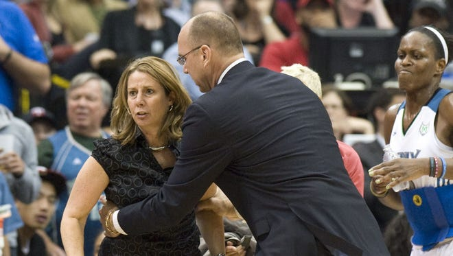 Minnesota Lynx coach Cheryl Reeve receives a technical foul call on Lindsay Whalen (not pictured) and is given a technical foul in the third quarter of Game 2 of the WNBA Finals. The Lynx defeated the Fever 83-71.