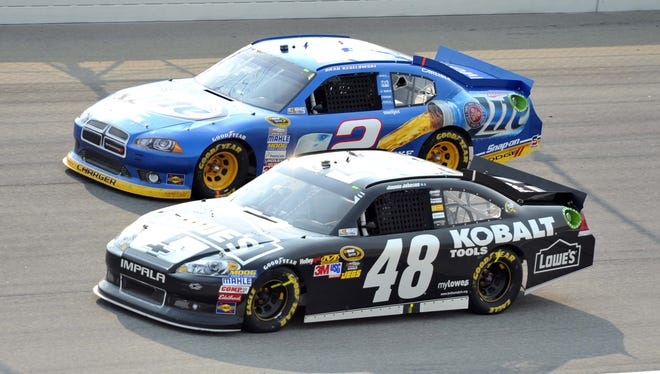 Jimmie Johnson (48) and Brad Keselowski (2) go head-to-head at the Chase opener at Chicagoland Speedway. Keselowski won that race and leads Johnson by seven points in the championship standings with five races to go.