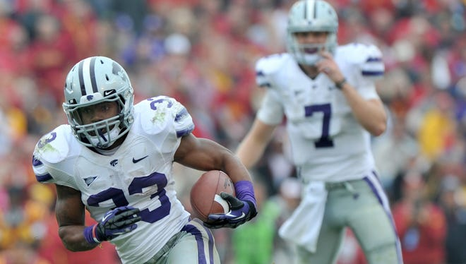 Kansas State running back John Hubert has as many carries as quarterback Collin Klein but is averaging a yard better (6.2) on his totes.