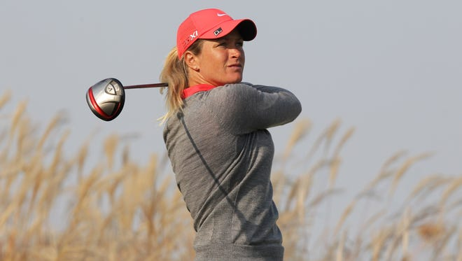 Suzann Pettersen of Norway watches her drive on the ninth hole on her way to a 9-under 63 in the first round of KEB HanaBank Championship.
