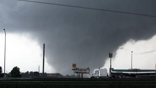 A monstrous tornado rips into Tuscaloosa, Ala., in April 2011. A new study finds that tornadoes are not getting worse, despite last year's deadly and devastating season