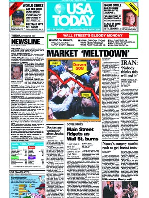 Here's a copy of our front page the day after Black Monday, Oct. 19, 1987.