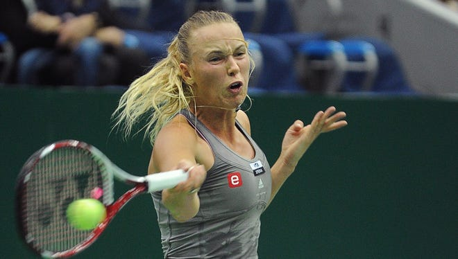 Caroline Wozniacki lines up a forehand during her victory against Sofia Arvidsson on Saturday in the Kremlin Cup semifinals.