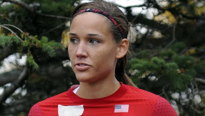 Olympic hurdler Lolo Jones waits for her run at the U.S. women's bobsled push championships on Oct. 5 in Lake Placid, N.Y.