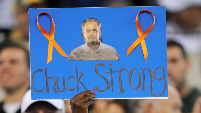 Colts fans show their support for head coach Chuck Pagano, who was released from the hospital Sunday morning.