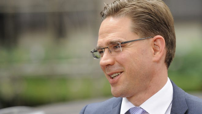 Finnish Prime Minister Jyrki Katainen arrives at an EU summit in Brussels on Thursday.