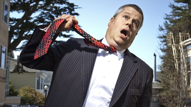 Daniel Handler, aka Lemony Snicket, on the street outside his San Francisco home.