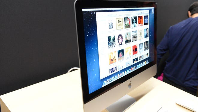 The new iMac desktop on display after Apple's launch event.