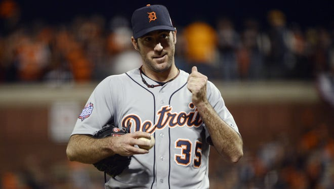 Detroit Tigers pitcher Justin Verlander reacts in the fourth inning of Game 1.