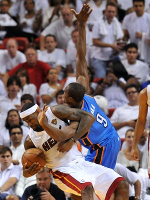 LeBron James, left, and the Heat got the best of the Thunder in the Finals, but development from players such as Serge Ibaka, right, could help Oklahoma City jump that hurdle.