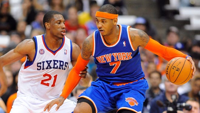 Knicks star Carmelo Anthony will play power forward in Amar'e Stoudemire's absence.