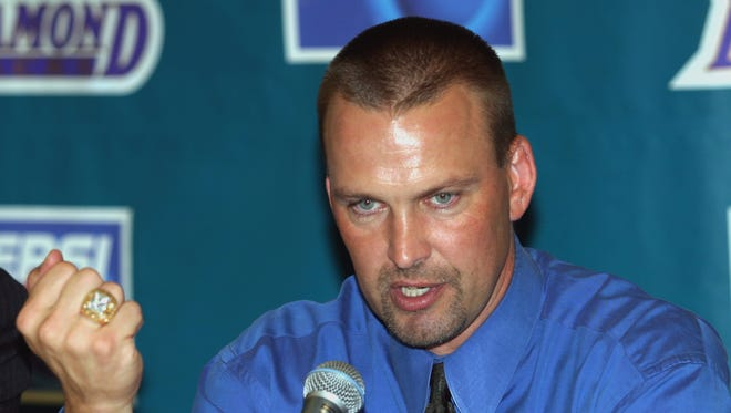 Mark Grace, announcing his retirement from the Arizona Diamondbacks and Major League Baseball on Sept. 26, 2003, could face jail time if convicted for DUI.