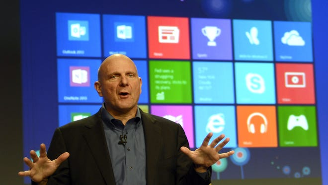 Microsoft CEO Steve Ballmer speaks during a press conference at Pier 57 to officially launch Windows 8 in New York.