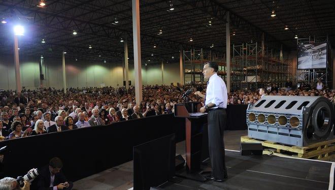 Republican presidential candidate Mitt Romney makes a campaign stop  in Cincinnati.
