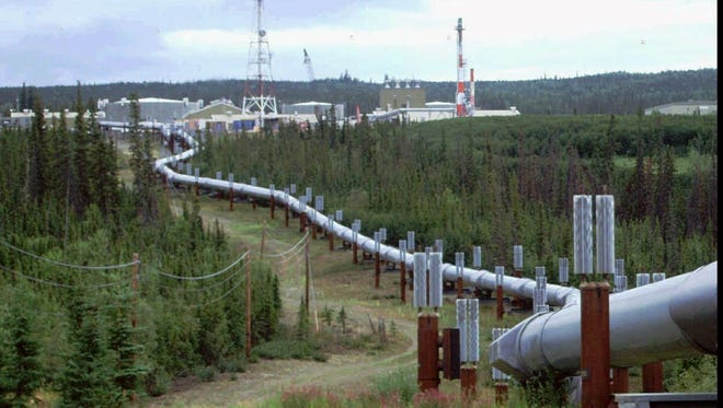 A segment of the 800-mile Trans-Alaska pipeline at a pump station north of Fairbanks. Oil taxes, $7 billion in 2011, account for the vast majority of the state's revenue.