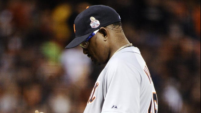 Tigers reliever Jose Valverde allowed two earned runs on four hits in 1/3 of an inning.
