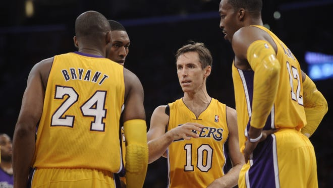 The Lakers are more star-packed than ever, with Dwight Howard, right, and Steve Nash, next to Howard, joining Kobe Bryant, Metta World Peace and Pau Gasol (not pictured).