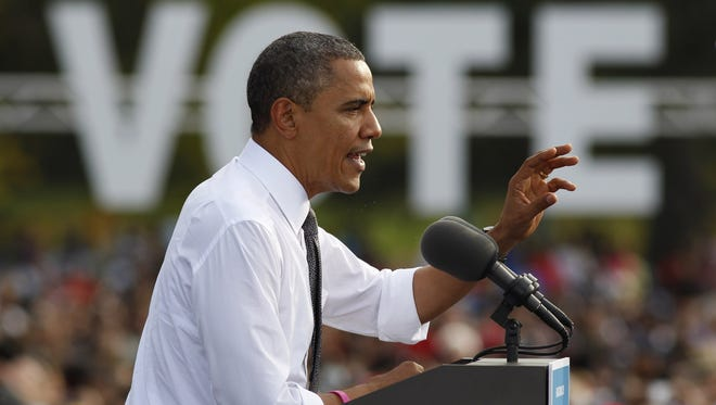 President Obama speaks during a campaign stop Tuesday in Triangle Park in Dayton, Ohio.